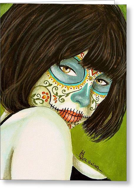 La Muerte En Verde Greeting Card by Al  Molina