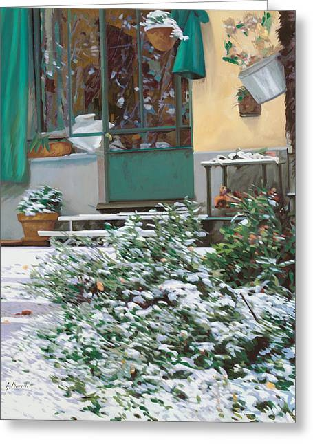 La Neve A Casa Greeting Card by Guido Borelli