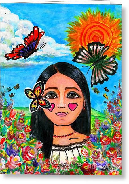 La Nina De Las Mariposas  Greeting Card by Laura  Gomez