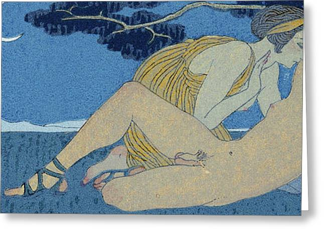 La Nuit Greeting Card by Georges Barbier