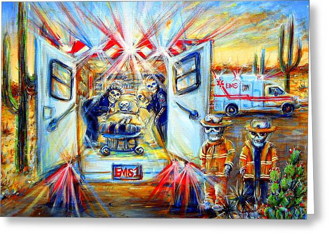 Greeting Card featuring the painting La Paramedica by Heather Calderon