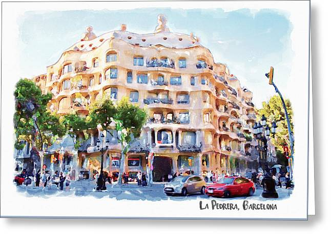 La Pedrera Barcelona Greeting Card by Marian Voicu