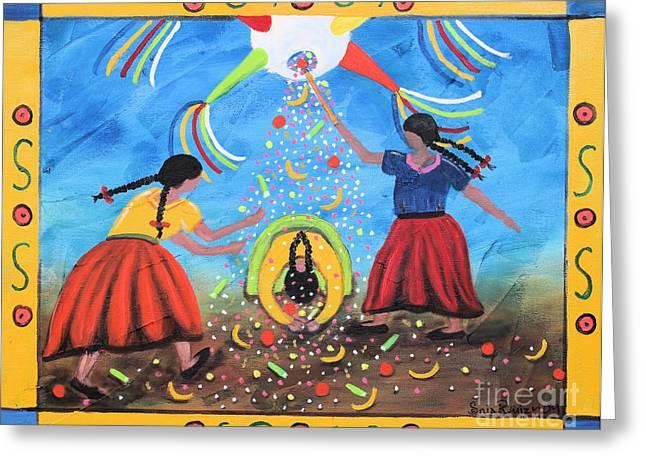 La Pinata Greeting Card by Sonia Flores Ruiz