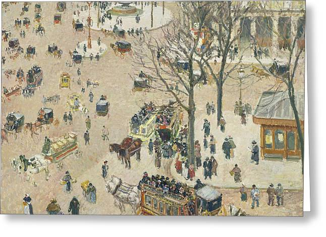 La Place Du Theatre Francais Greeting Card by Camille Pissarro