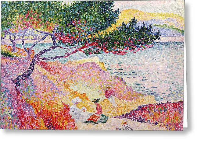 Sun Spots Greeting Cards - La Plage de Saint-Clair Greeting Card by Henri-Edmond Cross