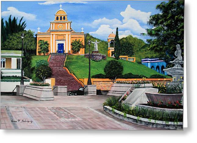 La Plaza De Moca Greeting Card by Luis F Rodriguez