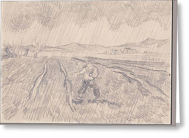 La Pluie Enclosed Field With A Sower In The Rain 1890 Greeting Card