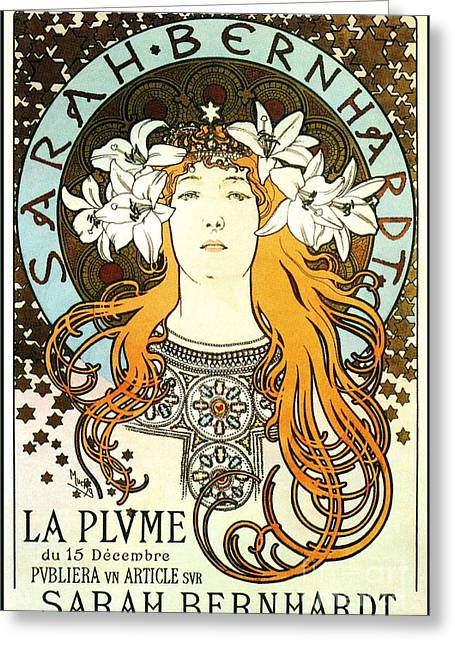 La Plume By Alfons Mucha Greeting Card