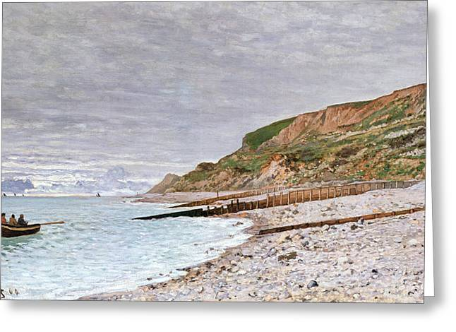 Rowers Paintings Greeting Cards - La Pointe de la Heve Greeting Card by Claude Monet