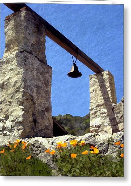 La Purisima Mission Bell Tower Greeting Card by Kurt Van Wagner