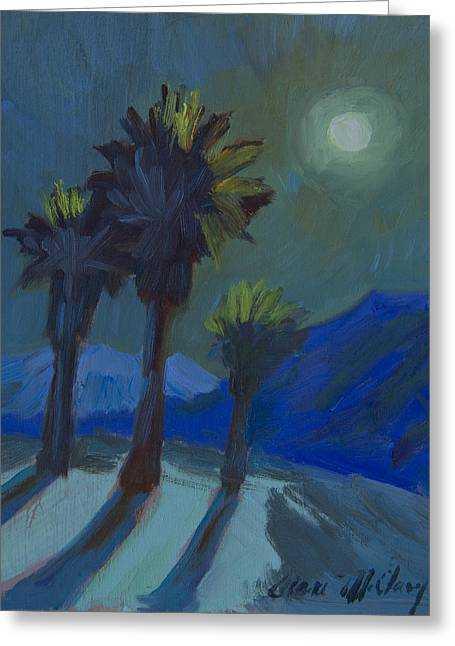 La Quinta Cove And Moonlight Greeting Card by Diane McClary