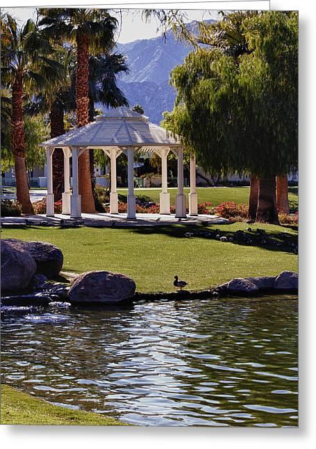 La Quinta Park Lake And Gazebo Greeting Card