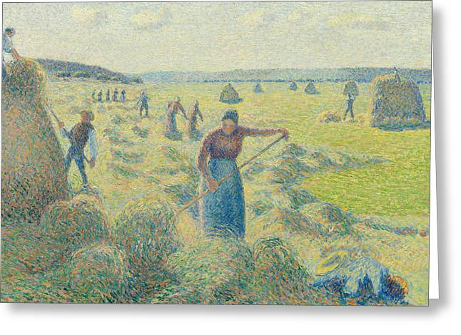 The Harvesting Of Hay Eragny  Greeting Card by Camille Pissarro