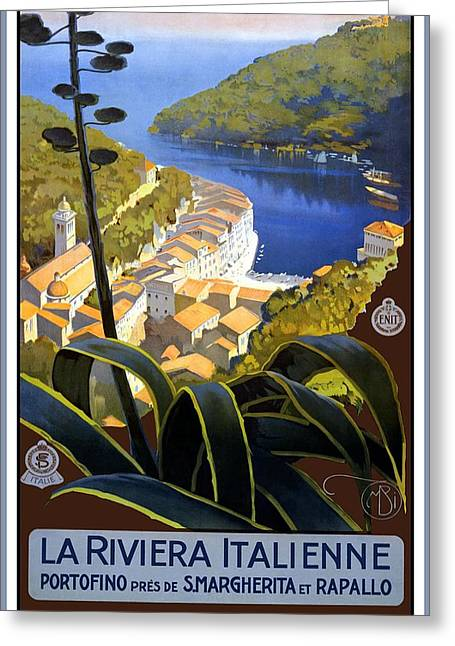 La Riviera Italienne - Beautiful Italian Landscape By A Lake And Mountains - Vintage Travel Poster Greeting Card