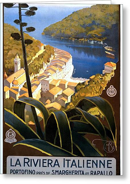 La Riviera Italienne, Travel Poster For Enit, Ca. 1920 Greeting Card