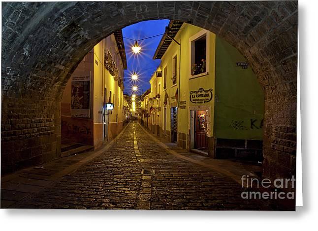 La Ronda Calle In Old Town Quito, Ecuador Greeting Card