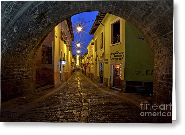 La Ronda Calle In Old Town Quito, Ecuador Greeting Card