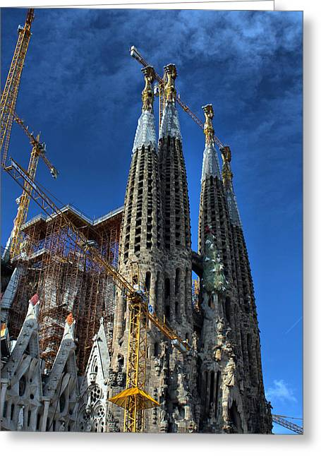 Greeting Card featuring the photograph La Sagrada Familia By Antonio Gaudi by Farol Tomson