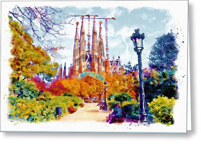 La Sagrada Familia - Park View Greeting Card by Marian Voicu