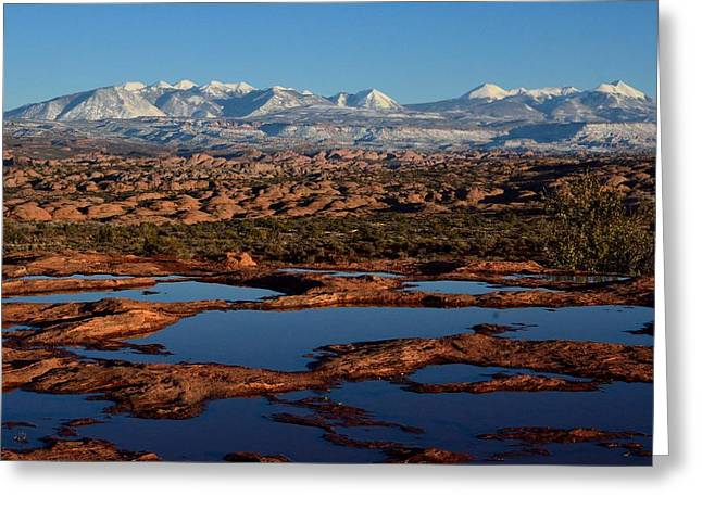 La Sal Mountains And Ephemeral Pools Greeting Card