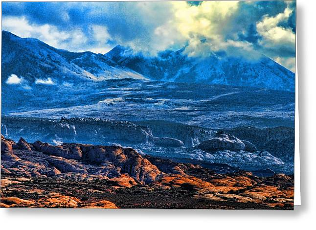 La Sal Mountains Arches National Park Greeting Card