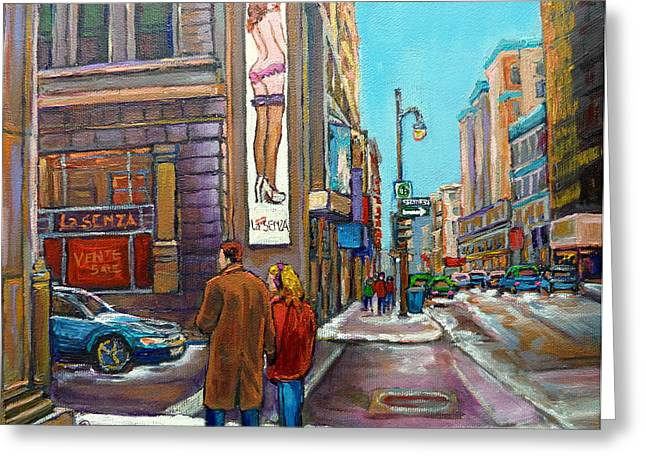 La Senza Downtown Montreal Greeting Card by Carole Spandau