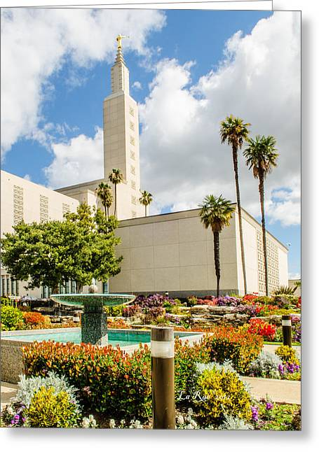 Mormon Temple Photography Greeting Cards - LA Temple Gardens Greeting Card by La Rae  Roberts