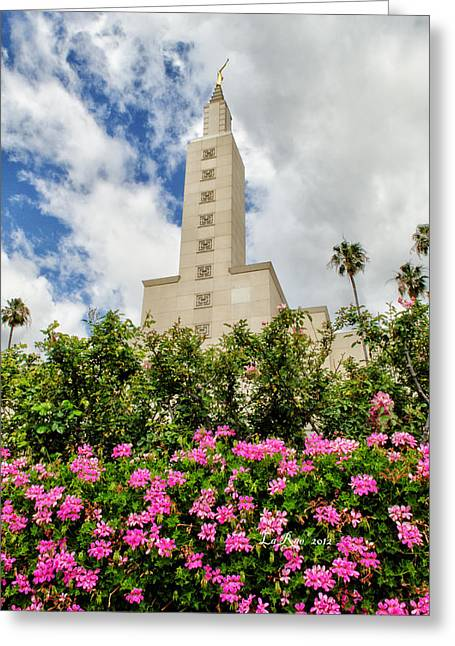 Mormon Temple Photography Greeting Cards - LA Temple Pink Greeting Card by La Rae  Roberts