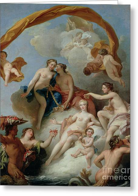 Goddess Greeting Cards - La Toilette de Venus Greeting Card by Francois Lemoyne