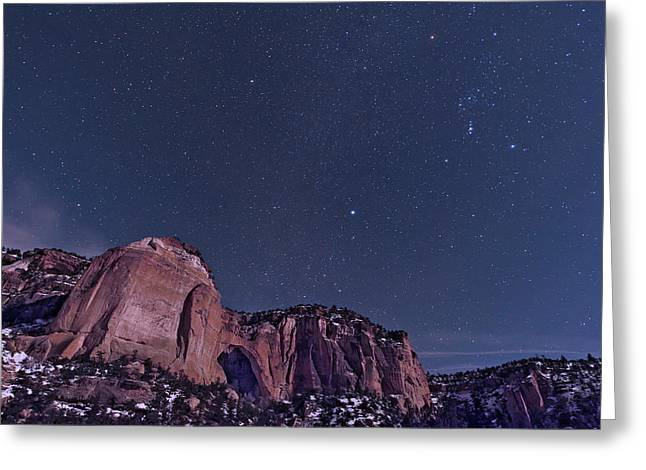 Constellations Greeting Cards - La Ventana Arch With The Orion Greeting Card by John Davis