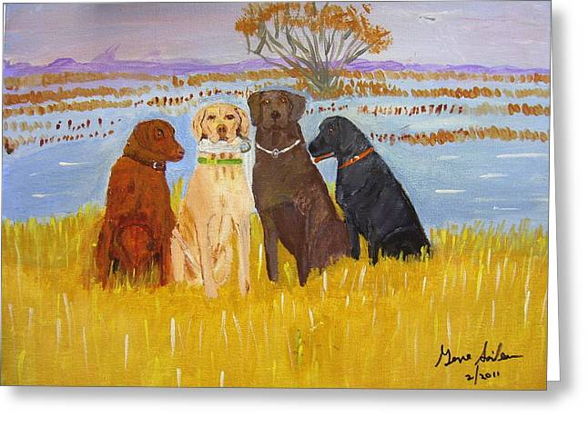 Greeting Card featuring the painting Lab Dogs by Swabby Soileau