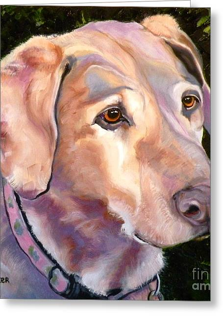 Puppies Print Greeting Cards - Lab One of a Kind Greeting Card by Susan A Becker