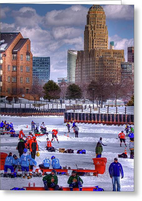 City Hall Greeting Cards - Labatt Pond Hockey 2011 Greeting Card by Don Nieman