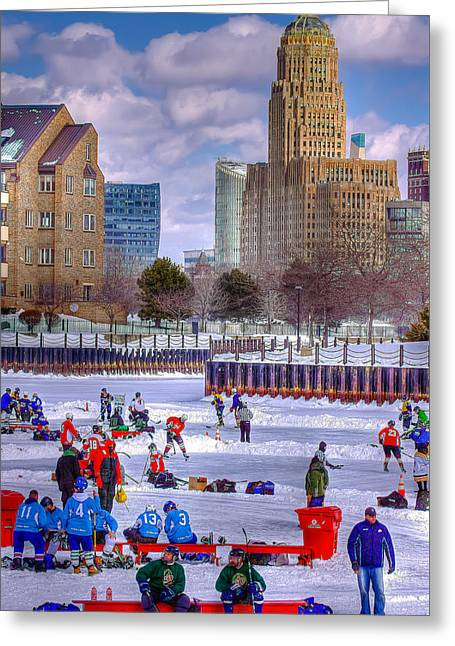 Greeting Card featuring the photograph Labatts Pond Hockey by Don Nieman