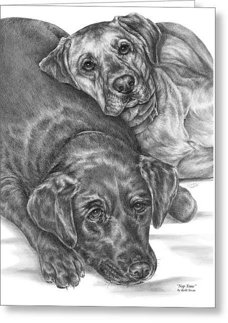 Labrador Dogs Nap Time Greeting Card