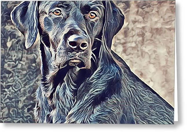 Labrador Retriever - Black Lab Dog Greeting Card by Mike Rabe