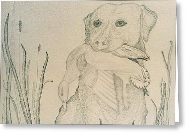Labrador Retriever With Duck Greeting Card by Karen Fowler