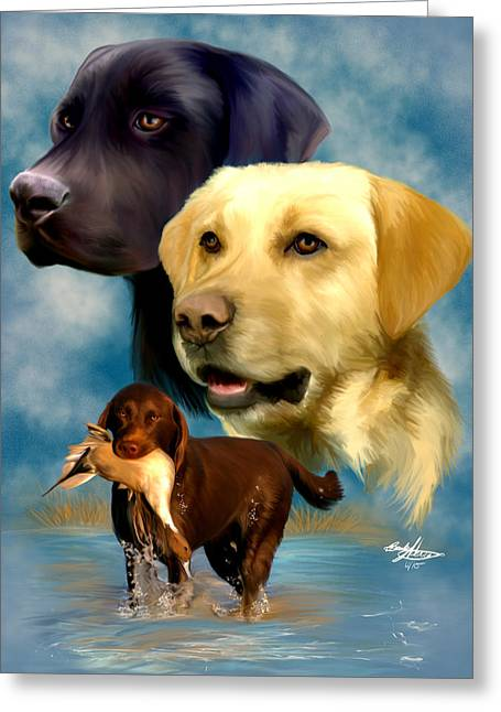 Labrador Retrievers Greeting Card by Becky Herrera