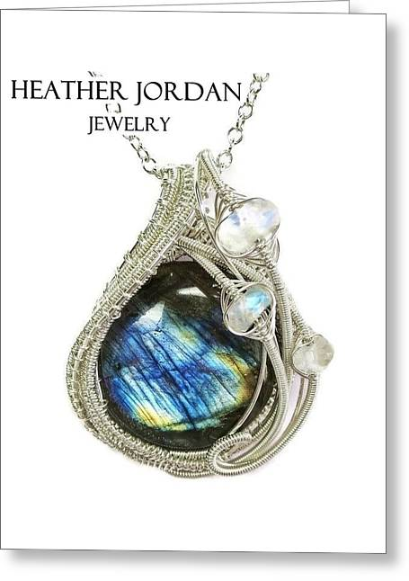 Labradorite And Sterling Silver Wire-wrapped Pendant With Rainbow Moonstone Labpss2 Greeting Card by Heather Jordan