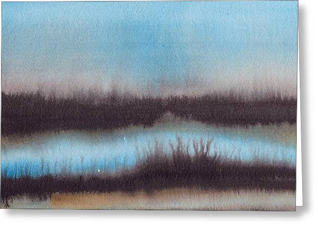 Greeting Card featuring the painting Lac Au Soir by Marc Philippe Joly