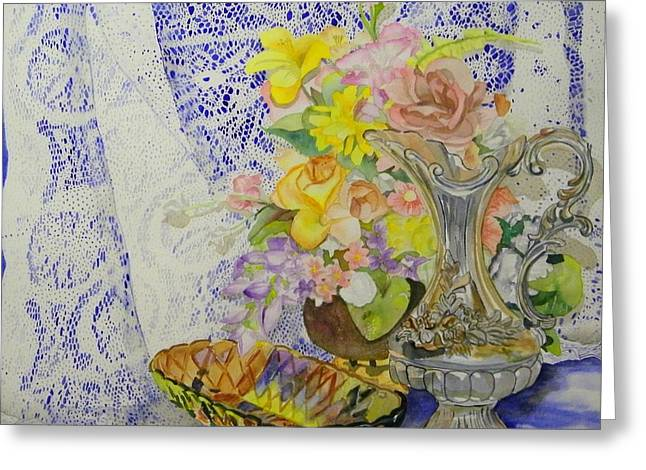 Lace And Flowers Greeting Card by Terry Honstead