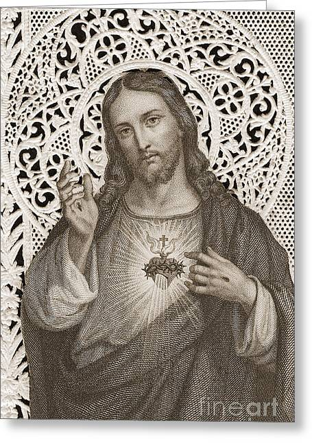 Lace Card Depicting The Sacred Heart Of Jesus Greeting Card