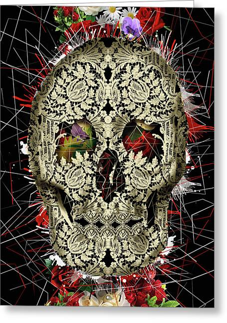 Lace Skull Floral Greeting Card by Bekim Art