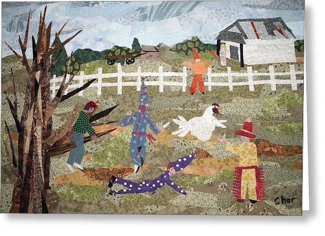 Louisiana Tapestries - Textiles Greeting Cards - Lache Pas la Poulette Greeting Card by Charlene White