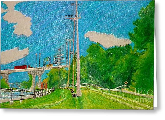 Lachine Canal Pencil Crayon Greeting Card
