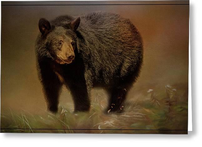 Black Bear In The Fall Greeting Card