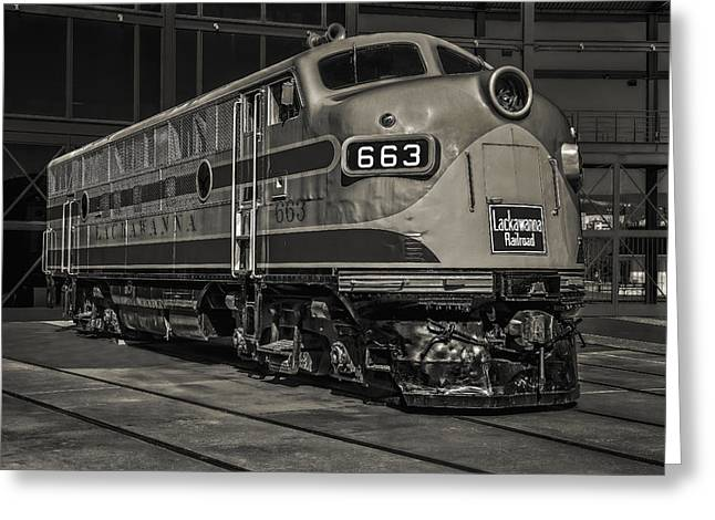 Lackawanna 663 Railroad Train Bw Greeting Card