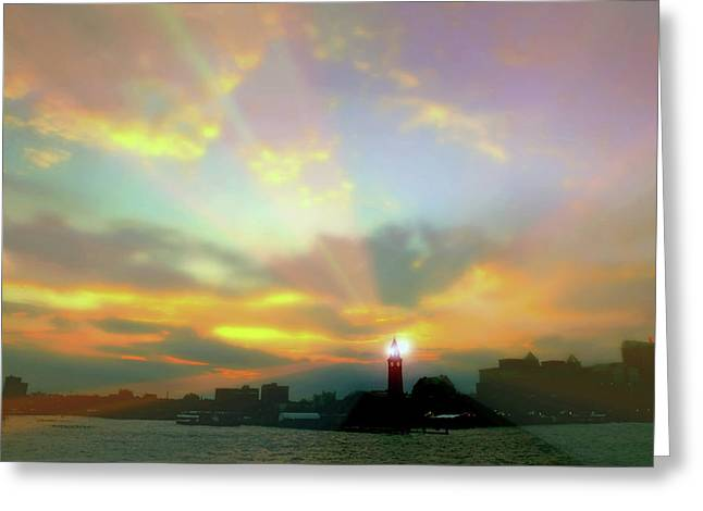Greeting Card featuring the photograph Lackawanna Transit Sunset by Diana Angstadt