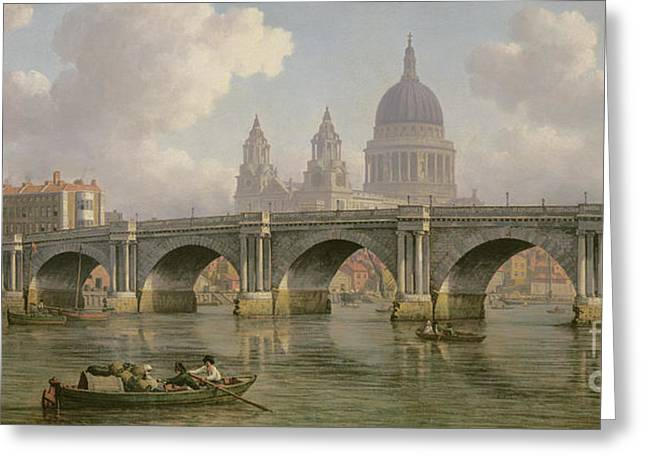 Blackfriars Bridge And St Paul's Cathedral Greeting Card by William Marlow