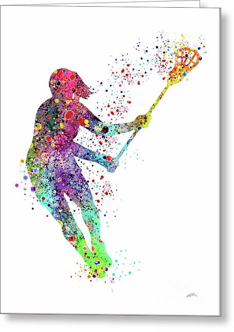 Lacrosse Girl Player Sports Art Print Watercolor Print Girl's Lacrosse Illustration Lacrosse Art Pos Greeting Card